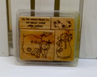 Stampin' Up! Wood Mounted Rubber Stamps-Snowmen-Never Used