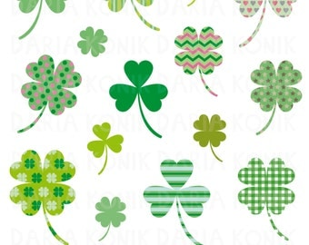 Clover and Shamrock Clip Art Set-patterned shamrock and clover clipart, green, good luck, St.Patricks Day, eps, png, jpeg, instant download
