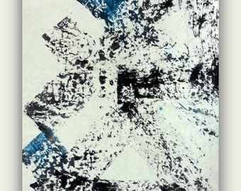 large huge canvas abstract painting black and white blue contemporary painting modern art giclee