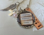 Personalized hand stamped breast cancer necklace