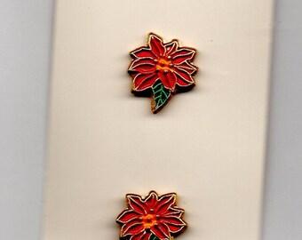 Vintage Christmas Buttons - Poinsettia Christmas Flower - Hand-Painted Metal - JHB International