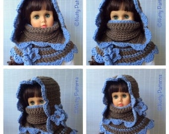 Crochet Patterns * Charlotte Hooded Cowl * Instant Download Pattern # 472 * baby toddler child teen adult * bulky fast and easy