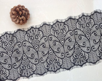 3.3 Yards Good Quality Chantilly Lace Trim, French Lace Trim, Black / Off White Bilateral Eyelash Lace Trim