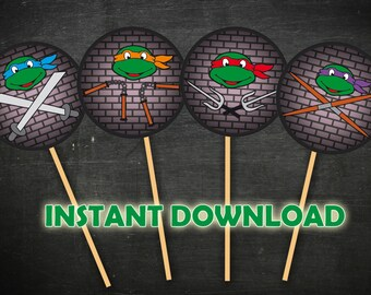 "TMNT Cupcake toppers, Teenage Mutant Ninja Turtles Cupcake toppers size 2"" - INSTANT DOWNLOAD -Digital file"