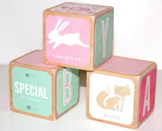 Wood Baby Blocks Pink Nursery Fox Bunny Alphabet