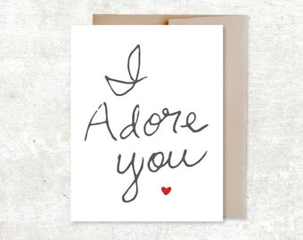 I Adore You Card - Love Card - Friendship Card - Sisters Card - Wedding Anniversary Card - Typography Card - Valentine card
