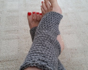 Yoga Socks - Toeless BalletSocks, Pilates, Dance Warmers, Crocheted Gray Socks, For Her