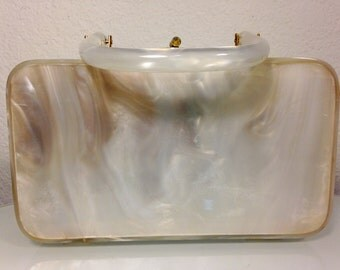 FREE   SHIPPING   1950's  Lucite Box Handbag