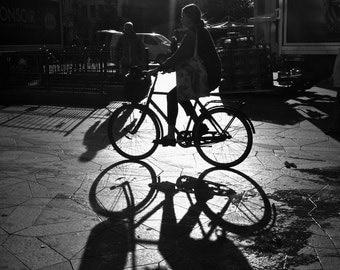 Copenhagen Photography - Bike Print - Black and White Shadows - Denmark