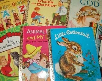 Vintage Children's Book Lot, Little Golden Book Lot, 1970's Kids Bookshelf, Little Red Riding Hood, Animal Daddies, Instant Library