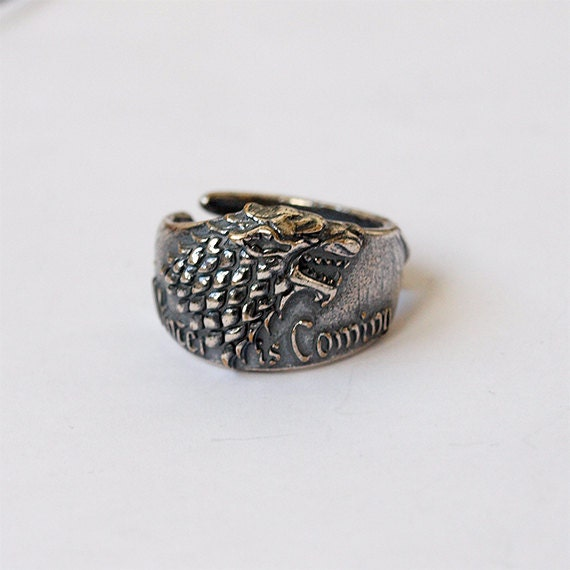 of thrones stark wolf ring jewelry silver plated brass