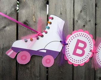 Roller Skate Banner, Roller Skate Birthday Banner - Skating Birthday Party - Roller Skating Party