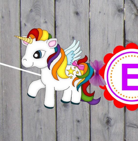 Unicorn Banner Unicorn Birthday Banner Pegasus Banner 3D