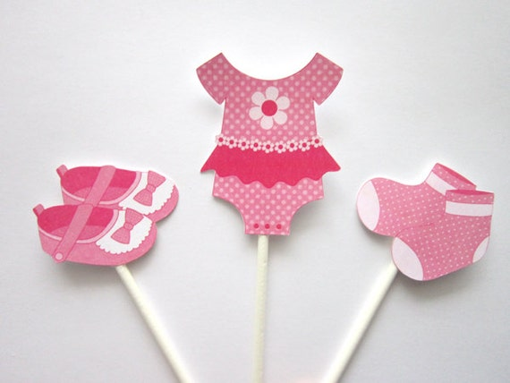 Baby Shower Cupcake Toppers Baby Girl Clothes Cupcake
