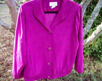 Wow FETCHING In FUSHIA 80s Faux Suede Look & Shaped Jacket, Size 12