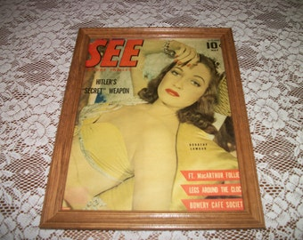 Cover of See Magazine 1940s PINUP DOROTHY LAMOUR,  could be old magazine or 80s repro Framed