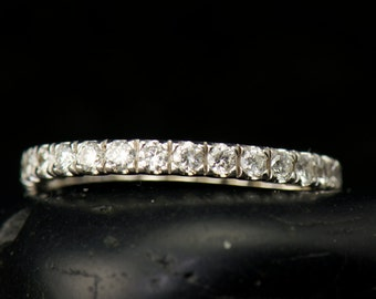 Kiley - Diamond Eternity Band in White Gold, Round Brilliant Cut, Shared Prong Set with Closed Baskets, 3/4ctw, Wedding Band, Free Shipping