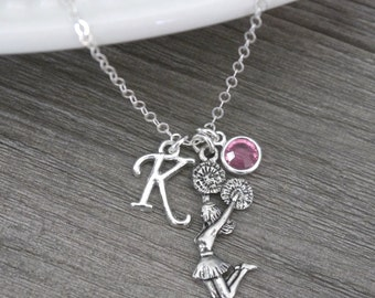 Cheerleader Necklace, Personalized Cheerleader Necklace, Cheer Necklace, Letter Birthstone, Cheerleading Necklace, Cheerleader Gift, Custom