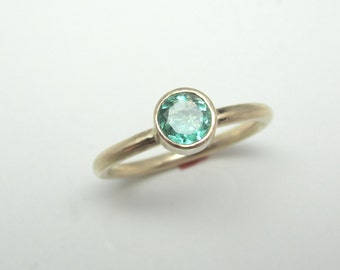 Emerald Ring| Recycled 14K Yellow Gold| May Birthstone| Eco Friendly
