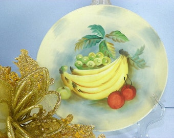 Vintage Lefton Plate Hand Painted Yellow Banana Plate with Red Label