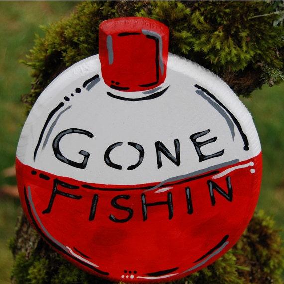 Gone Fishing Signs Decor: Gone Fishing Hanging Wooden Bobber Sign Home Decor_Owens