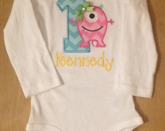Girly Monster Birthday Shirt or Baby Bodysuit