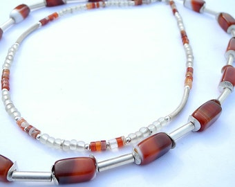 Petrified Fire - Carnelian necklace, carnelian collier, double-layered necklace, multistrand necklace, 2-in-1 necklace, red necklace, spring