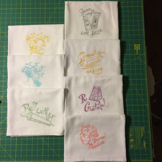 Machine Embroidered Flour Sack Dish Towel Set By