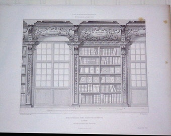 French Architectural Print, Bibliotheque Dans L'Hopital General A Reims