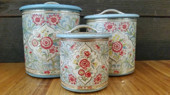 Pink and blue canister set canisters from holland tea coffee - Pink tea and coffee canisters ...