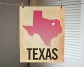 Texas Art, State Print TX, Texas Ombre Map Print, Burlap, Dallas, Texas Gift