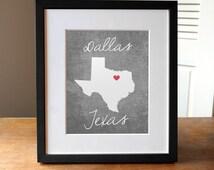 Dallas Texas State Print, Texas Print, Texas Gift, Concrete Gray Texas State Print