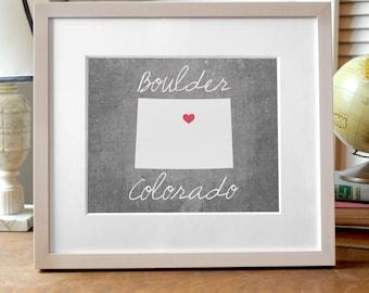 Boulder Colorado State Print, Colorado Print, Concrete Gray State Print, Colorado Gift, Colorado Art