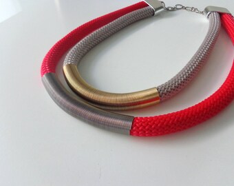Red black grey Rope chunky statement necklace, tube necklace