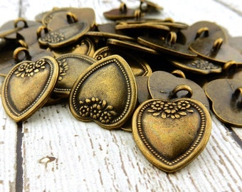 """Vintage Victorian Flower Heart Button 3/4"""" or 20mm Antique Brass, Metal Shank Buttons Great for Leather Wrap Clasps"""