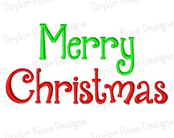 Merry Christmas Machine Embroidery Design 4x4 5x7 6x10 INSTANT DOWNLOAD