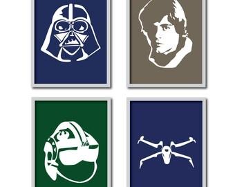 Mix 'n Match 8x10s- Any 4 Star Wars Silhouette Prints for Nursery/Boys Nursery/Yoda/DarthVader/Luke Skywalker/Storm Trooper - 8x10s