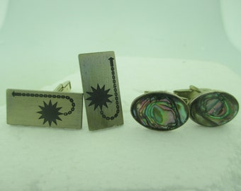 Vintage Group of Sterling Silver Cuff Links- Abalone ( 3 Sets ).