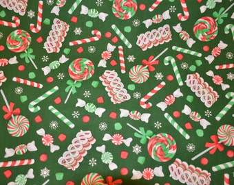 Christmas candy green cotton fabric 1/2 yard or yardage Sale Closeout