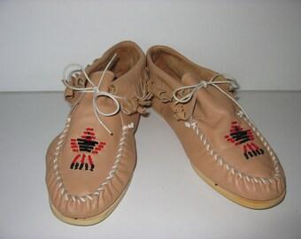 Vintage Leather moccasins natural Brown hippie Gr. 40