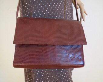 Leather Brown cross body bag vintage reptile embossing