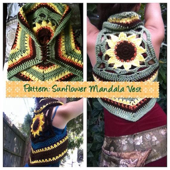 Free Crochet Pattern For Mandala Vest : PATTERN: Sunflower Mandala Crochet Vest by EarthTricks on Etsy