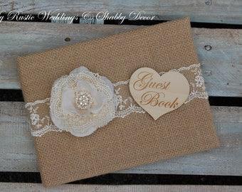 Rustic Wedding Guest Book / Rustic Guest Book / Burlap Guest Book / Shabby Chic Guest Book / Rustic Chic Guest Book/ Guest Book