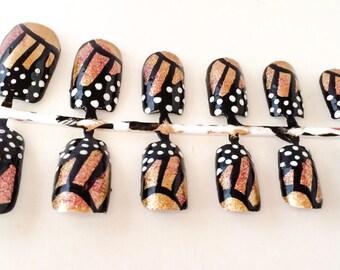 Gold Fake Nail Set - Butterfly False Nail - Glitter Acrylic Nail - Animal Print Artificial Nail -Press On Nail -Glue On Nail - Gifts For Her