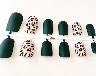 Green Fake Nail Set - Matte False Nails - Cheetah Acrylic Nail - Animal Print Artificial Nail - Press On Nail - Glue On Nail - Gifts For H