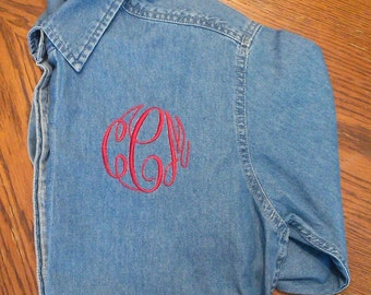 Monogram denim shirt