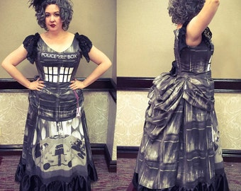 Tardis Noir Victorian Steampunk Bustle Gown Custom Sized Black and White or Traditional Blue