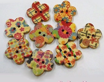 10 Flower Buttons - Wooden Painted Multi Coloured 5 Petal Daisy Buttons - Mixed Colours - 18mm - 2 holes WB3