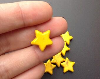 10 Yellow Star Beads, Yellow Gemstone Beads (1-1305)