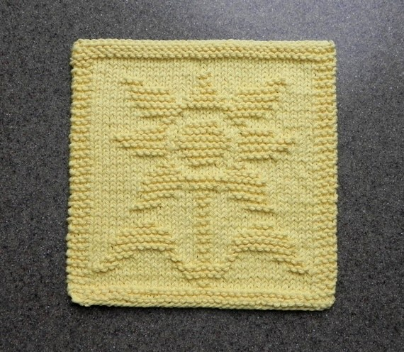 SUNFLOWER Knit Dishcloth. Hand Knitted Unique Design. 100%